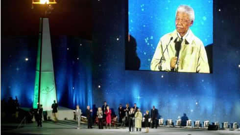 Nelson Mandela speaking after the Flame of Hope was lit at the opening ceremony of the 2003 Special Olympics World Summer games at Croke Park. Photograph: Alan Betson/The Irish Times