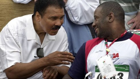 Mohammed Ali  (left) meeting Mr Kevin Boyd, USA, at the Special Olympics World Games, at Santry, Co. Dublin. Photograph: Eric Luke/The Irish Times