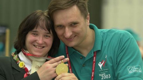 Proud of her Gold Ms Ekaterina Efimova left and Mr Valera Zakharov, language escort Russia at Kill Equestrian Centre during the Special Olympics World Summer Games. Photograph: Brenda Fitzsimon/The Irish Times