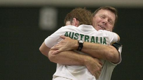 Ms Fiona Davis  Australia photographed getting hugged by the Australian Coach Mr Greg Gibson after winning her  doubles tennis match at the Special Olympics World Games at the River View Centre, Clonskeagh. Photograph: Brenda Fitzsimons/The Irish Times
