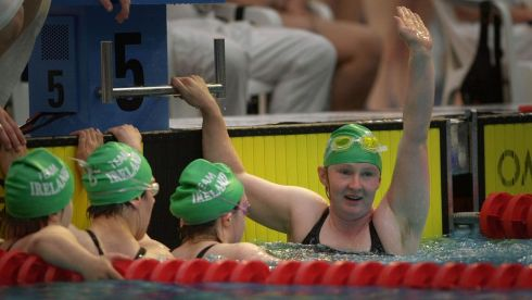 Catriona Kearney, (right) celebrates with fellow Ireland team members  Laura Jane Dunne, Karina Houlihan and Brid Lynch in the 4x50 freestyle relay,during the Special Olympics World Games Swimming event at the National Aquatic Centre, Dublin, Ireland. Photographer: Dara MacDónaill/The Irish Times
