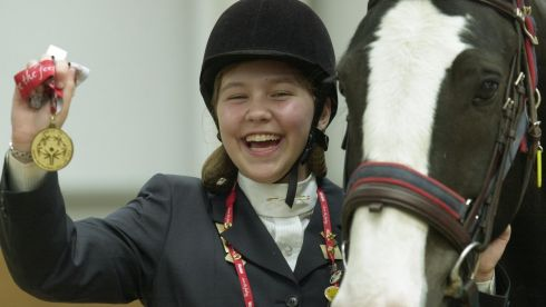 Ms Sarah Appelbaum of Team USA with her Gold  medal  in the Horse Trials  at Kill Equestrian Centre during the Special Olympics World Summer Games. Photograph: Brenda Fitzsimons/The Irish Times