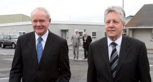 Northern Ireland's First Minister Peter Robinson (right) and Deputy First Minister Martin McGuinness have appealed for peace on the streets this summer. Photograph: Paul Faith/PA Wire