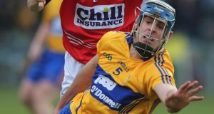 Brendan Bugler of Clare in action against Cork in this year's National Hurling League.  Photograph: Lorraine O'Sullivan/Inpho