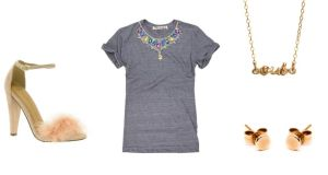 Left: feathered peach sandals (€59.65), at Asos.com. Centre: grey marl tee with jewelled neckline (€350), by TN Tees at Seagreen.ie. Right: Oui necklace in 18ct gold vermeil (€63), by Chupi.ie; and solid 9ct gold stud earrings (€65), by Natasha Sherling at coldlilies.com