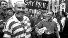 Campaigning senator: David Norris at the 1990 Gay Pride parade