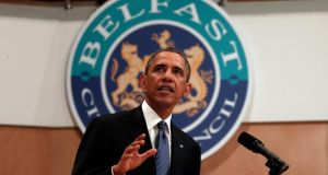 President Barack Obama speaks to students and other guests at Belfast Waterfront in Belfast this week. Photograph: Reuters