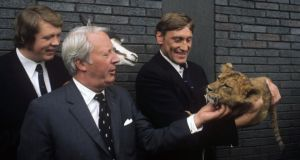 "Lions captain Willie John McBride (right) looks on as then leader of the opposition Edward Heath strokes lion cub ""Fiji"", given to the Lions on their arrival at Heathrow after the famous (and infamous) tour to South Africa in 1974."