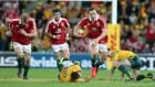 George North breaks through the Australian defence before his  try. Photograph: Dan Sheridan/Inpho