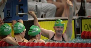 Catriona Kearney, (right) celebrates with fellow Ireland team members Laura Jane Dunne, Karina Houlihan and Brid Lynch in the 4x50 freestyle relay during the Special Olympics World Games in June 2003. Photograph: Dara Mac Dónaill/The Irish Times