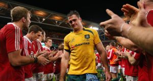 Wallabies captain James Horwill is clapped off the field after losing the first test. Photograph: Cameron Spencer/Getty Images