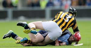Kilkenny's Walter Walsh and Ryan O'Dwyer of Dublin get in a tangle. Lorraine O'Sullivan/Inpho