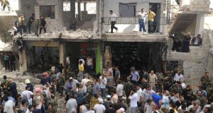 Suicide bombers struck in Mezza 86, a strongly pro-government district of Damascus, killing two. Photograph: Reuters/Sana