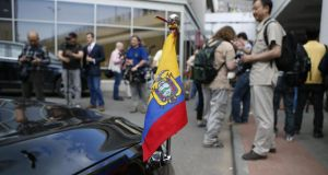 The Ecuadorean ambassador to Russia's car stands outside Sheremetyevo airport, near Moscow, as journalists await  the arrival of Edward Snowden yesterday. Photograph: AP Photo/Alexander Zemlianichenko Jr