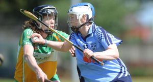 Dublin's Áine Fanning in action against Offaly's Sheila Sullivan at O'Toole Park, Crumlin, Dublin. Photograph: CQPhotography