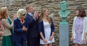 Kiley Kennedy and Grace Kennedy Allen unveil a bust of Ted Kennedy, with Taoiseach Enda Kenny, Jean Kennedy Smithy and Caroline Kennedy, at the opening of the Kennedy homestead and visitor centre. Photograph: Eric Luke
