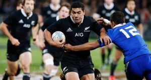 Charles Piutau of New Zealand's All Blacks is tackled by Wesley Fofana of France during their match in New Plymouth. Photograph: Nigel Marple/Reuters