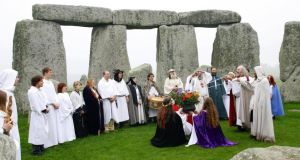Druids perform a pagan  style blessing ceremony at Stonehenge. Photograph: Chris Ison/PA.