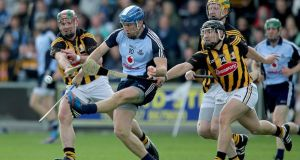 Kilkenny's Kieran Joyce and Richie Hogan tackle Conal Keaney of Dublin. Photograph: Lorraine O'Sullivan/Inpho