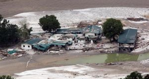 A view shows the damaged houses next to a river after heavy rains in the Himalayan state of Uttarakhand. Photograph: Indian Ministry of Defence/Handout/Reuters
