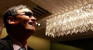 Chinese dissident Chen Guangcheng answers a question during an interview  in Taipei.