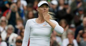 Russia's Maria Sharapova after her victory over Kristina Mladenovic of France.