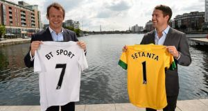 Former Liverpool and Manchester United striker Michael Owen and former British and Irish Lions star Austin Healey at the announcement that Setanta Sports has added BT Sport and ESPN to its line up for the next three seasons. Photograph: David Maher / Sportsfile