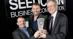 Seedcorn winners Antonio Ruzelli and Seamus Porter of Wattics with Martin Cronin.