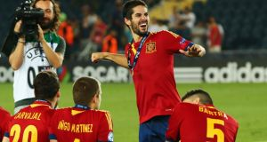 Isco of Spain dances after winning the Uefa European under-21 Championship final match against Italy at Teddy Stadium  in Jerusalem, Israel, last week.  Photograph: Alex Grimm/Getty Images