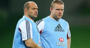 Rory Best (left) and Tom Court of the British and Irish Lions during the captain's run at AAMI Park, Melbourne, scene of Saturday's second Test against Australia. Photograph: Dan Sheridan/Inpho