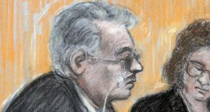 Court artist sketch of Moors murderer Ian Brady (left)appearing via video at his mental health tribunal at Manchester Civil Justice Centre last week. Photograph: Elizabeth Cook/PA Wire