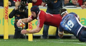 Sean O'Brien of the Lions dives over for his try against the Melbourne Rebels. Photograph: David Rogers/Getty Images