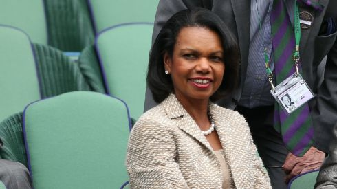 Former US secretary of state  Condoleezza Rice watches the Hanescu-Federer match. Photograph: Clive Brunskill/Getty Images