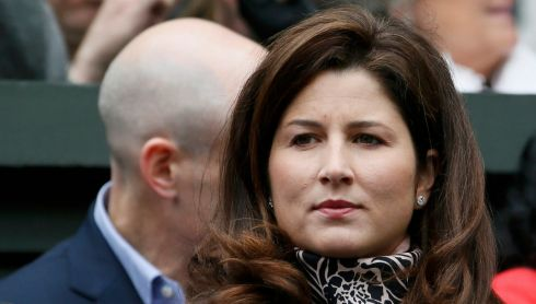 Mirka Federer, wife of Roger Federer of Switzerland, watch him play Victor Hanescu. Photograph: Stefan Wermuth/Reuters