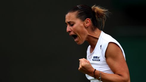 Italy's Flavia Pennetta reacts during her match against Great Britain's Elena Baltacha Photograph: John Walton/PA Wire