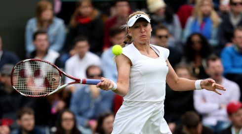 Great Britain's Elena Baltacha in action against Italy's Flavia Pennetta. Photograph: John Walton/PA Wire