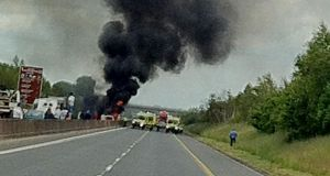 The scene of a car fire on the N4 near Kinnegad on Monday afternoon  in which a man died. Photograph: Martin Territt
