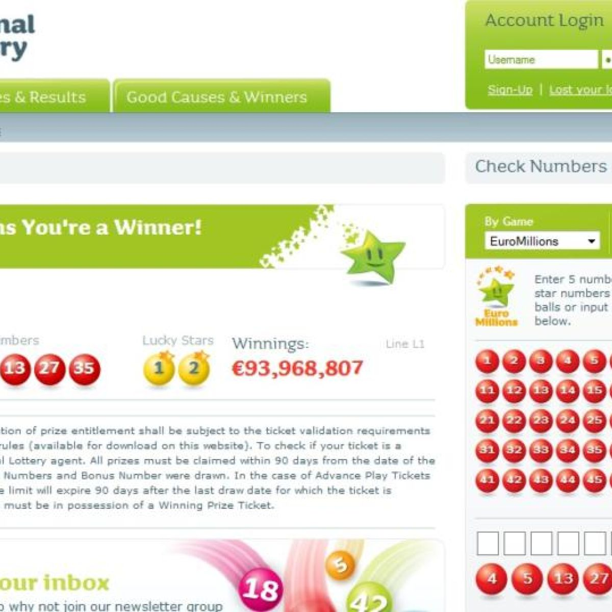 €94m winner contacts National Lottery to claim prize