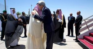 Us secretary of state John Kerry  is greeted by Saudi Arabia's foreign minister Prince Saud al-Faisal upon arrival in Jeddah, Saudi Arabia. Photograph: Jacquelyn Martin/Pool/Reuters