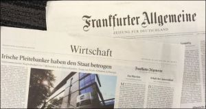 A photo of today's edition of one of Germany's leading newspapers, the Frankfurter Allgemeine which carries an article on the Anglo tapes headlined: 'Broke Irish bankers cheated the State'