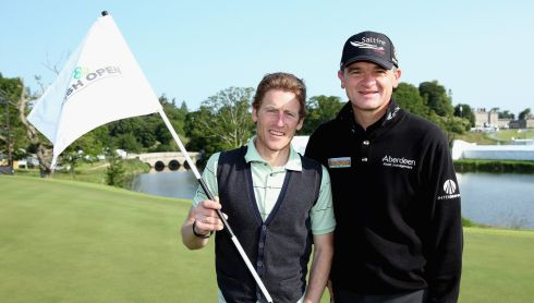 Paul Lawrie of Scotland (right) and top Irish jockey Johnny Murtagh at the pro-am. Photograph: Andrew Redington/Getty Images