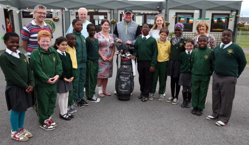 Richard Finch of England with pupils and teachers during a visit to Celbridge's St Patrick's National School as a preview to The Irish Open at Carton House. Photograph: Andrew Redington/Getty Images