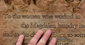 A plaque dedicated to Magdalane Laundry survivors in St Stephens Green in Dublin. Photograph:  Niall Carson/PA Wire