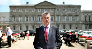 Colm Keaveney speaking to the media outside Leinster House in Dublin today after he quit as chairman and member of the Labour Party. Photograph: Julien Behal/PA Wire