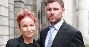 Eimear Byrne and Glenn Richardson, leaving court after their Circuit Civil Court action. Photograph: Collins Courts