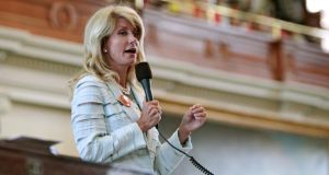 Texas State Senator Wendy Davis, a Democrat, speaks during a filibuster intended to stop Senate Bill 5, which contains restrictions on abortions after 20 weeks, at the State Capitol in Austin, Texas, June 25, 2013.  Photograph: Erich Schlegel/The New York Times