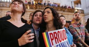 Gay rights supporters await the US Supreme Court's decision at City Hall, San Francisco. Photograph: Justin Sullivan/Getty Images