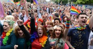 Participants in the 2012 Pride Parade on Merrion Square. Photograph: Dara Mac Donaill