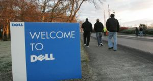 Dell workers at the Rhaeen industrial estate on the way into an information meeting where they learned of the redundancies in 2009. Photograph: Alan Betson