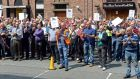 ESB workers aboprotesting about their pensions outside the ESB headquarters in Dublin yesterday. Photograph: Eric Luke